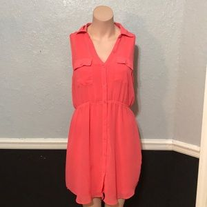 Peach button up dress with included slip.